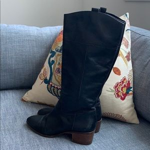 Louise et Cie Classic Black Leather Riding Boots
